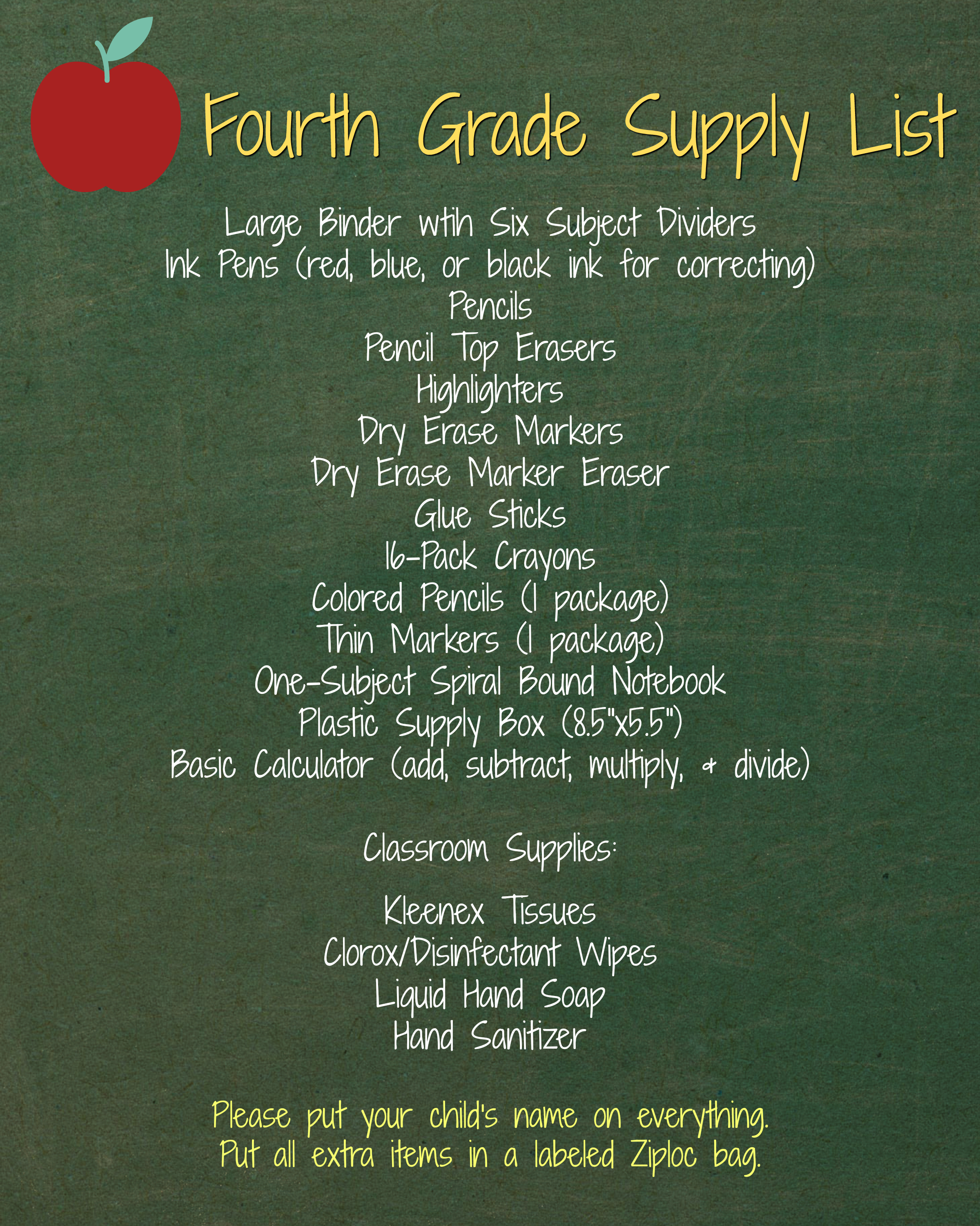 Student School Supply List First Grade Supply List: Neshannock Township School District